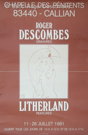 Roger Descombes,  Affiche avec Pierrot et Colombine, 1981 - Poster for an exhibition at Callian, France in 1981 with Pierrot and Colombine